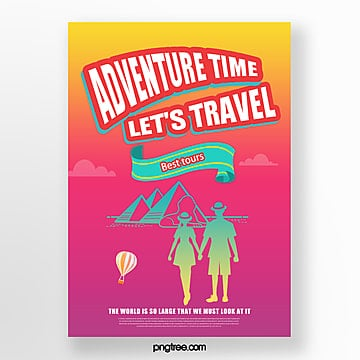 color gradient building travel balloon poster Template
