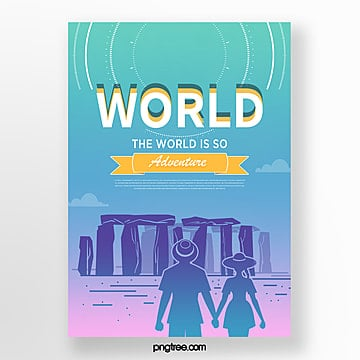 color landscape gradient building travel poster Template