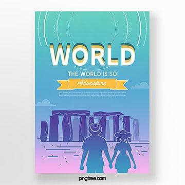 color landscape gradient building travel poster Template