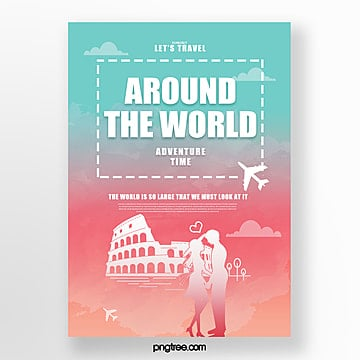 colored gradient building travel poster Template