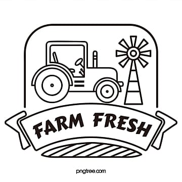 farm fresh tractor windmill linear vector logo Template