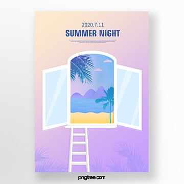 gradient summer window landscape three dimensional picture painting creative poster Template