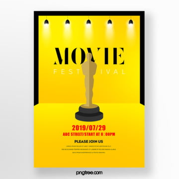 ming yellow paper cut style film festival trophy poster Template