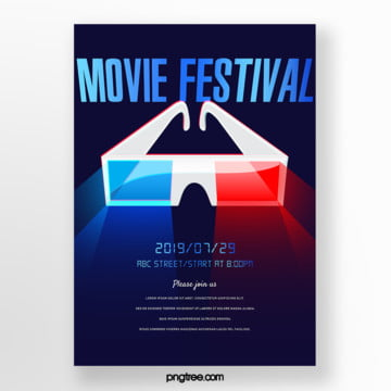 three dimensional modern technology sense 3d glasses film festival poster Template