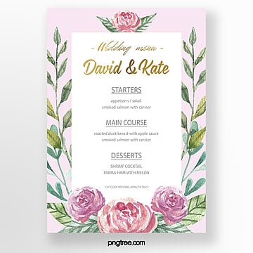 watercolor simple fresh warm wedding menu template Template