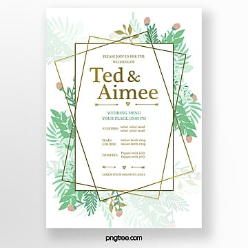 watercolor simple green fresh warm wedding menu template Template