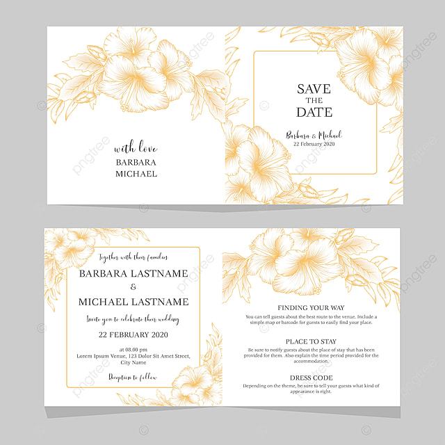Wedding Invitation Card Template With Golden Hibiscus Floral