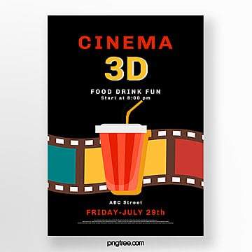 black 3d movie poster Template