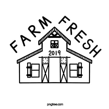 black and white lines farm fresh logo Template