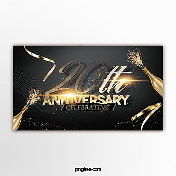 black gold luxury high end anniversary celebration page banner Template