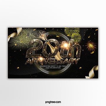 black gold style luxury anniversary celebration page banner Template