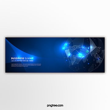 blue light effect technology element business activity banner Template