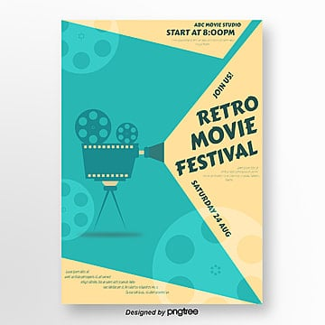 blue retro film festival creative poster Template