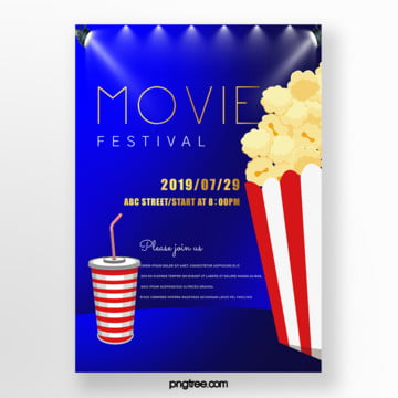 cartoon film festival popcorn cola night poster Template