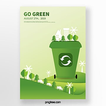 Cartoon garbage resource recycling eco friendly poster Template