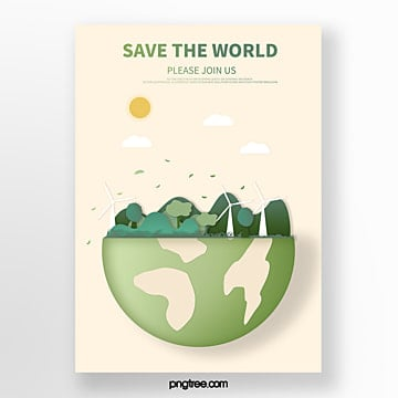 Cartoon green hemisphere natural eco friendly poster Template