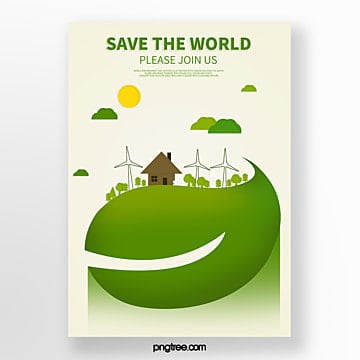Cartoon green nature landscape eco friendly poster Template