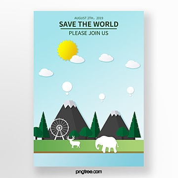 Cartoon mountain forest eco friendly poster Template