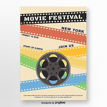 color retro film festival poster Template