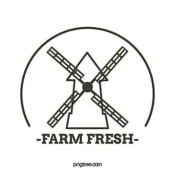 creative line farm windmill minimalist logo Template