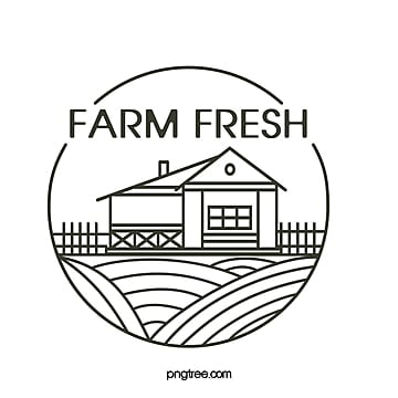 creative line minimalistic hand drawn farm house farmland sign Template