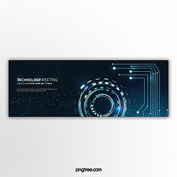Dark blue light effect business technology activity banner Template