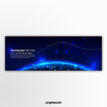 dark blue light effect technology line business activity banner Template