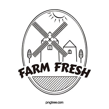 farm fresh windmills line vector logo Template