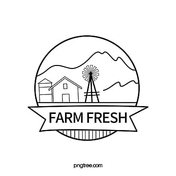 farm linear cartoon logo design Template