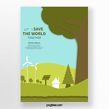 Flat green eco friendly poster Template