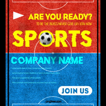 football activity red and blue contrast color pop up window square sns Template