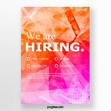 gradient geometry recruitment talent poster Template