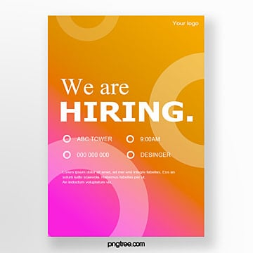 gradient shading interview recruitment poster Template