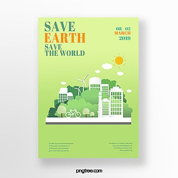 Green environmental protection theme poster Template