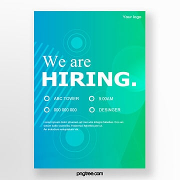 green gradient recruitment poster Template