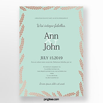 invitation leaf border wedding invitation Template