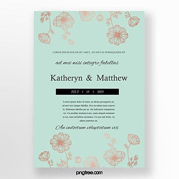 wedding invitation mint blue flower invitation Template