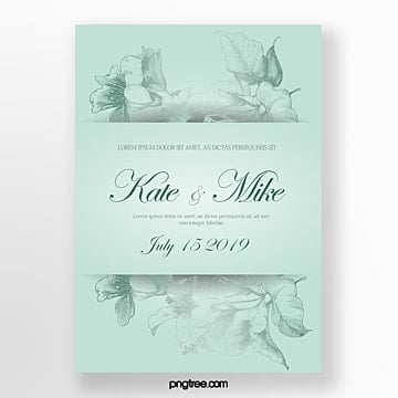 mint blue floral shading wedding invitation Template