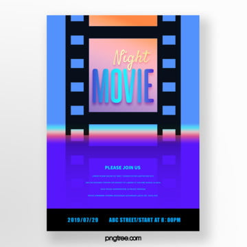 night gradient film silhouette film festival poster Template