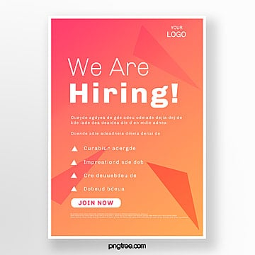 orange red high saturation recruitment poster Template