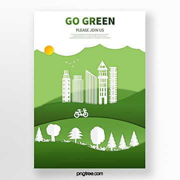 Origami eco friendly city and urban forest poster Template