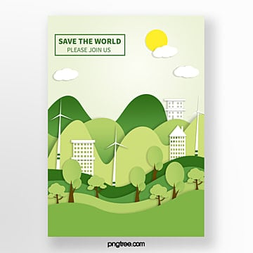 Origami green city and forest green poster Template