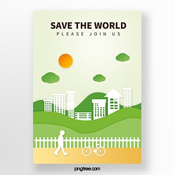 Origami green eco city and environmental protection poster Template