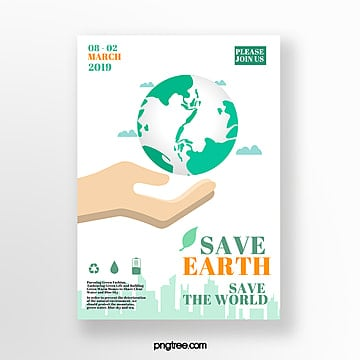 Protect the Earth Green Ring Mirror Theme Poster Template