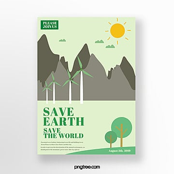 Protect the environment green life theme poster Template