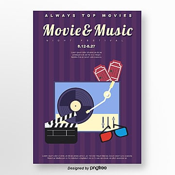 purple stripe retro movie music festival Template