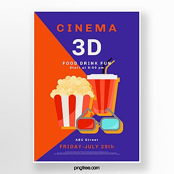red blue 3d movie poster Template