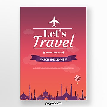 red gradient building travel poster Template