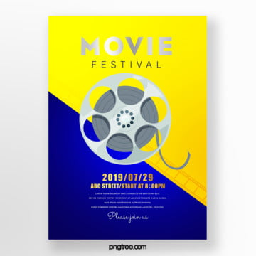 retro cartoon film color film festival poster Template