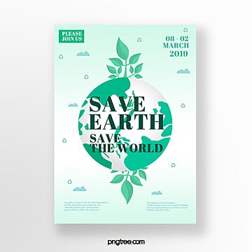Simple flat green earth theme poster Template
